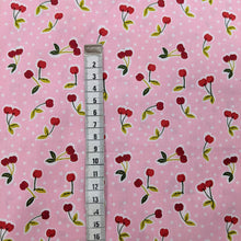 Load image into Gallery viewer, Cherries on pink cotton fabric (wide) - 1/2 mtr