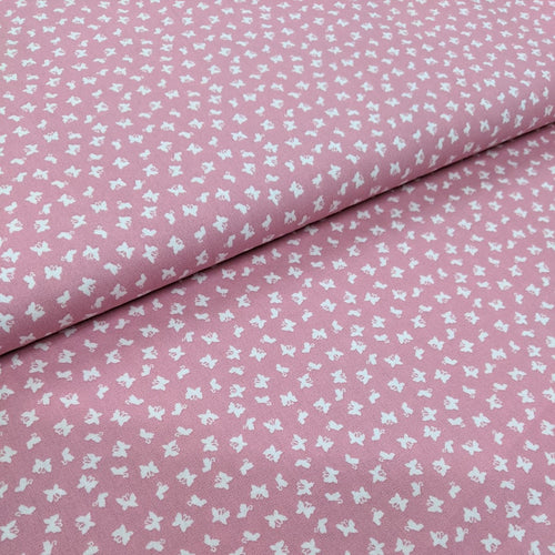 Little butterfly pink cotton fabric (wide) - 1/2 mtr