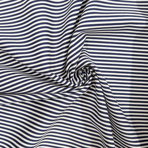 Navy and white stripe cotton fabric - 1/2 metre