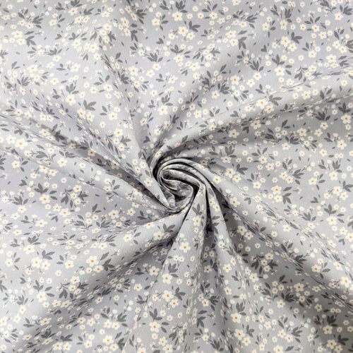 Silver grey floral cotton fabric - 1/2 metre