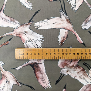 Flock of birds cotton lawn fabric - 1/2 mtr