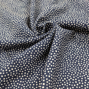 Dotty viscose fabric in navy - 1/2mtr