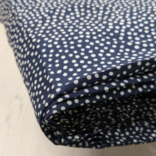 Load image into Gallery viewer, Dotty viscose fabric in navy - 1/2mtr