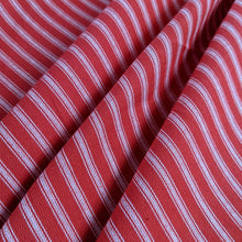 Load image into Gallery viewer, Crimson Red Ticking Stripe Heavyweight Fabric x 1/2 metre