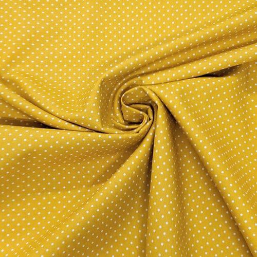 Mustard pinspot cotton fabric (wide) - 1/2 mtr