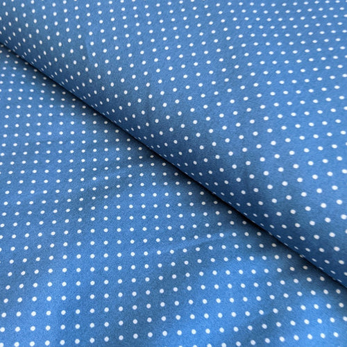 Cornflower blue pinspot cotton fabric (wide) - 1/2 mtr