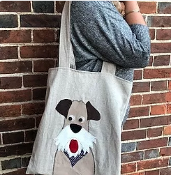 Applique tote bag pattern - dog
