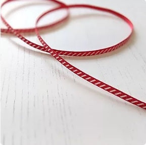 Red & white candy cane ribbon - 3mm