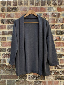 Roll Collar Cardigan - Grey