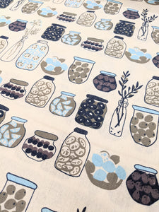 Blue jars print hessian heavyweight fabric - 1/2mtr