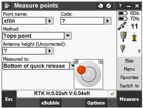 Trimble RTK Guide R10 with ebubble screenshot