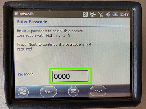 "Trimble Bluetooth Passcode  ""0000"""