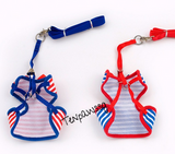 Nautical harness and leash (Red)