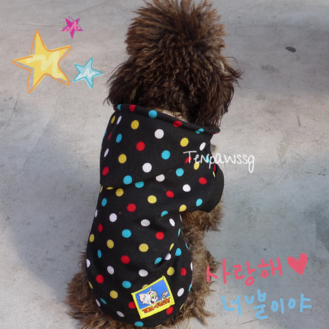 (Size S) Furball loves happy dots Hoodie