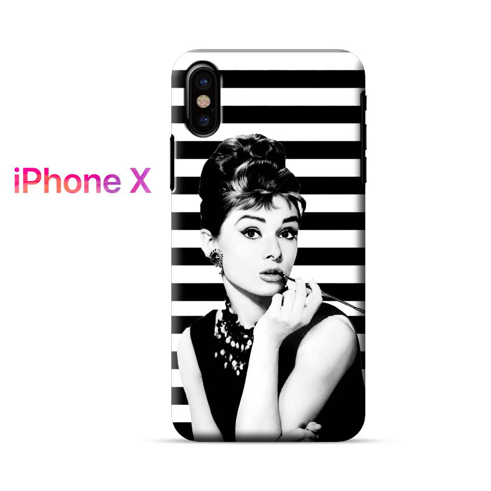 Audrey Hepburn Black White Stripes iPhone X Case