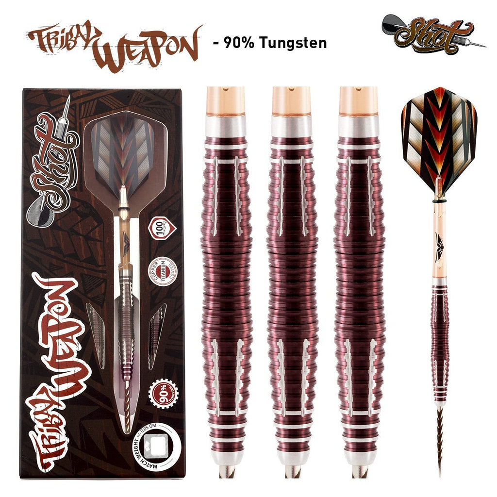 Tribal Weapon 3 Series Steel Tip Dart Set-90% Tungsten Barrels - Shot Darts New Zealand