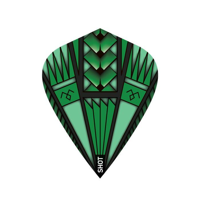 Armour Green Dart Flight Set-Kite - Shot Darts New Zealand