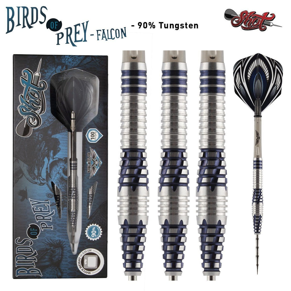 Birds of Prey Falcon Steel Tip Dart Set-90% Tungsten Barrels - Shot Darts New Zealand