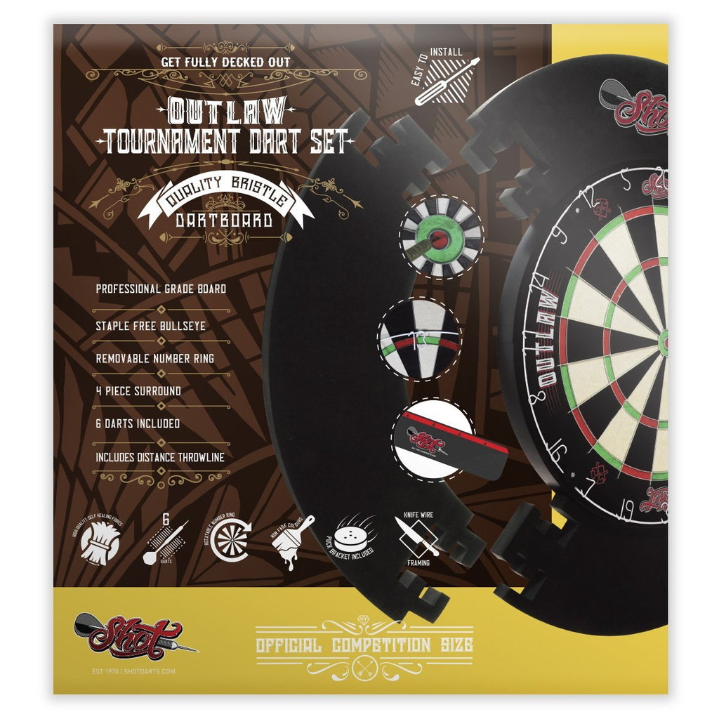 Outlaw Tournament Dartboard Set - Shot Darts New Zealand