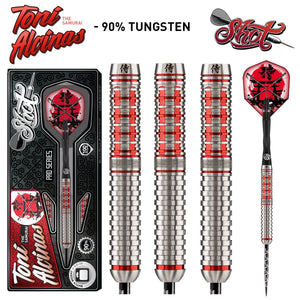 Shot Pro Series-Toni Alcinas Samurai Steel Tip Dart Set-90% Tungsten Barrels - Shot Darts