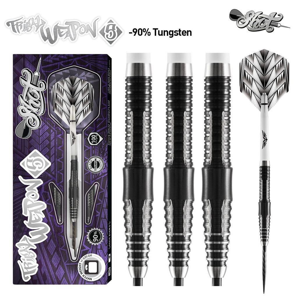 Tribal Weapon 5-Steel Tip Dart Set-90% Tungsten Barrels - Shot Darts New Zealand