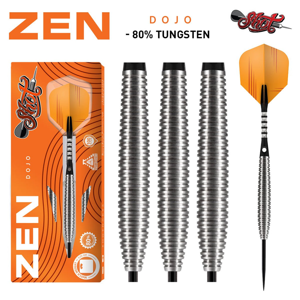 Zen Dojo Steel Tip Dart Set-80% Tungsten Barrels - Shot Darts New Zealand