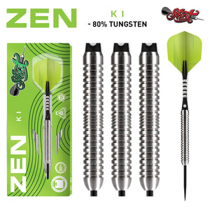 Zen Ki Steel Tip Dart Set-80% Tungsten Barrels - Shot Darts New Zealand