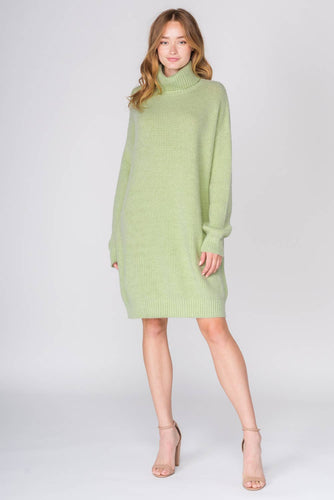TURTLENECK SWEATER DRESS LIME