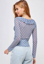 Load image into Gallery viewer, POLKA DOT RUFFLE TOP BLUE WHITE