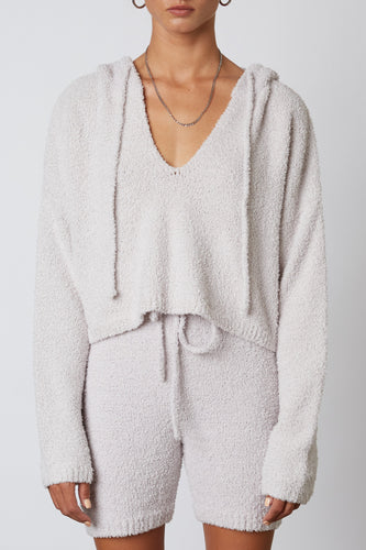 NOTCHED HOODED SWEATER DOVE GRAY