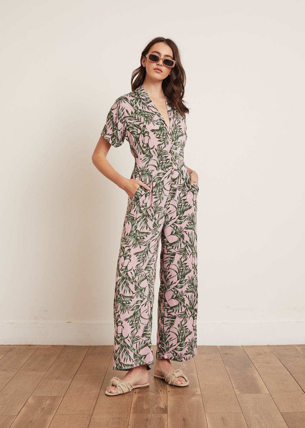 KEELY PALM PRINT JUMPSUIT PINK FLORAL