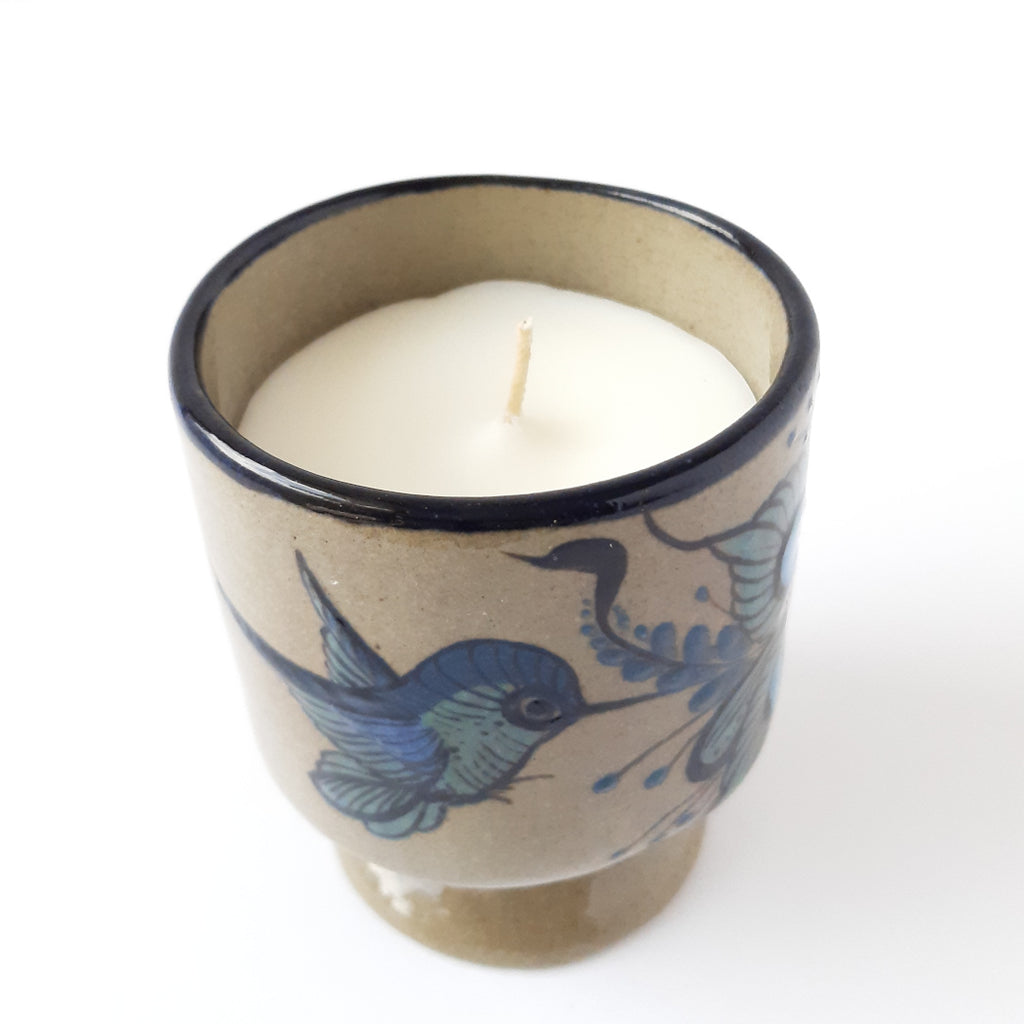 Handcrafted-ceramic-scented-candle-100%-soy-wax-esccential-oils-Achiote
