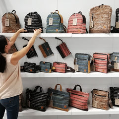 Achiote Bags Store Display at Trade Show in NYC