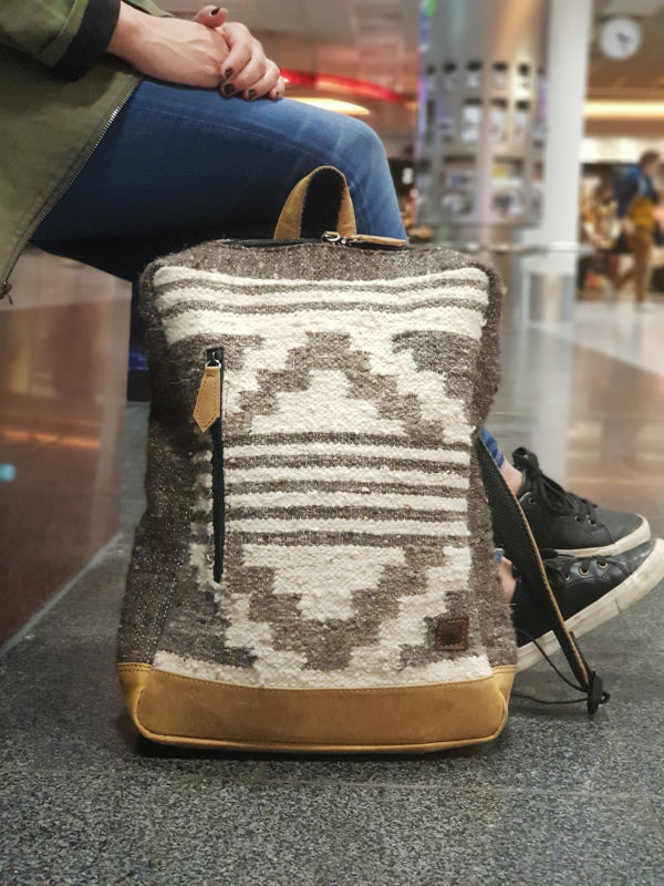 Achiote Wool and leather Backpack Zaculeu Design at Frankfurt Airport