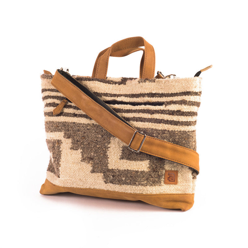Laptop Tote - Traditional Zaculeu : Wool & Leather 100% handmade in Guatemala