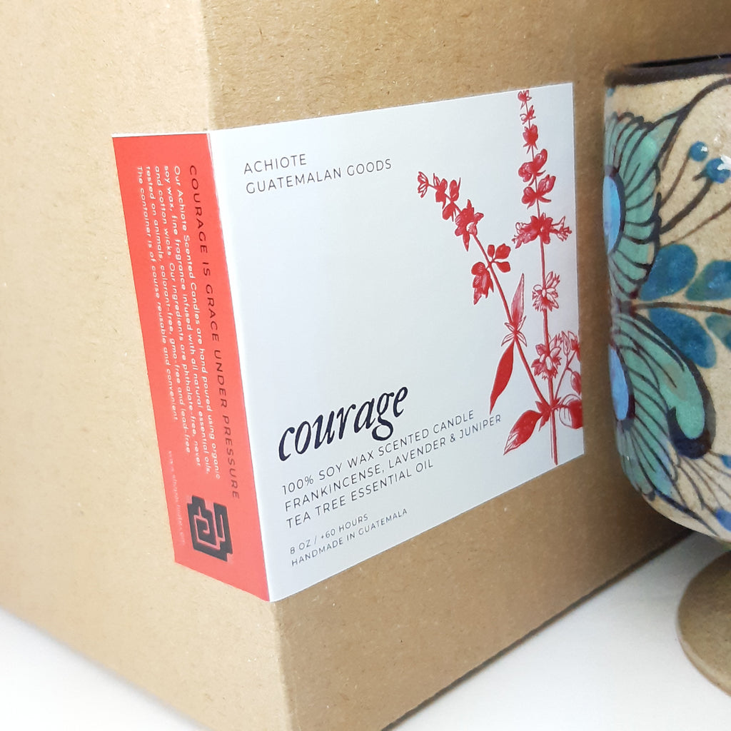 Ceramic-goblet-soy-wax-scented-candle-handcrafted-Achiote-Courage