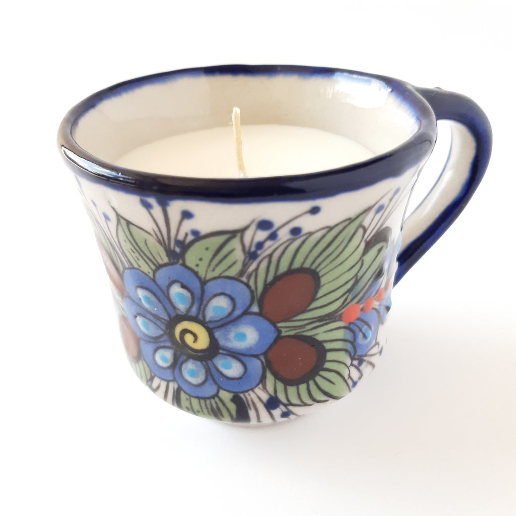 Ceramic-tea-cup-100%-soy-scented-candle-handpainted-Achiote