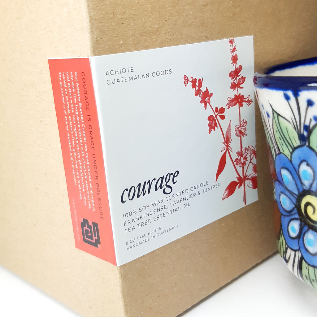 Ceramic-tea-cup-100%-soy-scented-candle-handpainted-Achiote-Courage