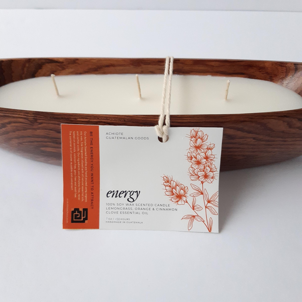 Wooden-canoe-soy-wax-scented-candle-handcrafted-Achiote-Energy