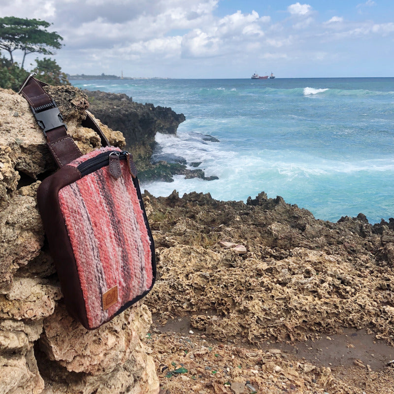 Handmade Belt Bag Black Wool and Leather Coral Dominican Republic