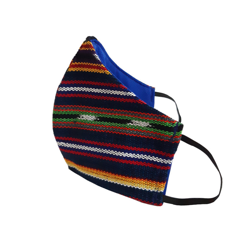 Achiote face mask handmade three layer jaspe blue angle view