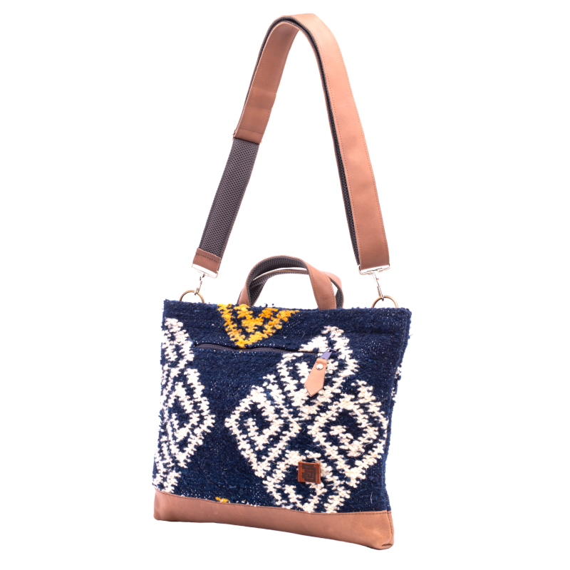 Laptop Tote - Agua : Wool & Leather 100% handmade in Guatemala