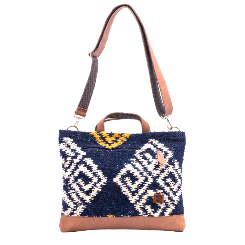Achiote wool and leather laptop tote bag agua design front