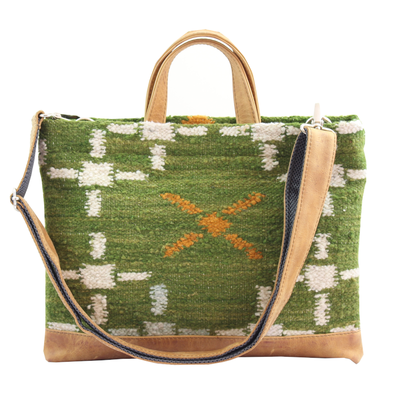Laptop Tote - Aire : Wool & Leather 100% handmade in Guatemala