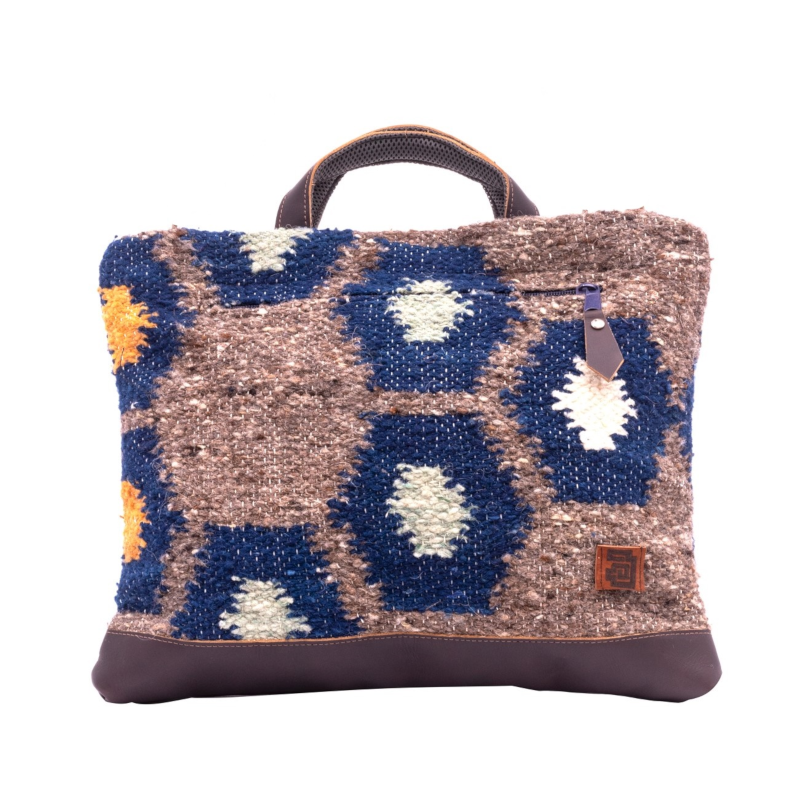 Laptop Tote - Tierra : Wool & Leather 100% handmade in Guatemala