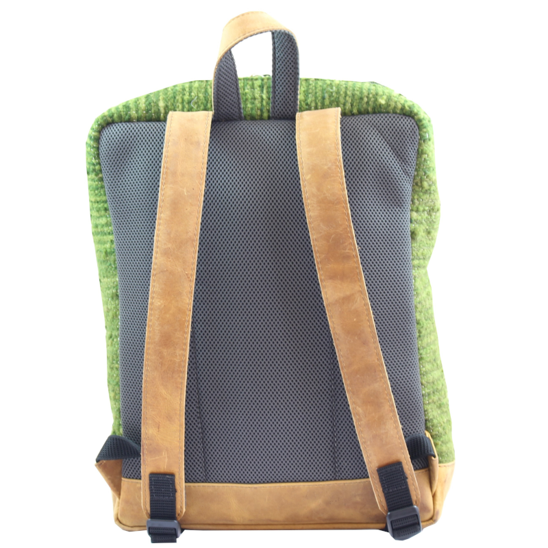 Handmade wool and leather Achiote Aire backpack back