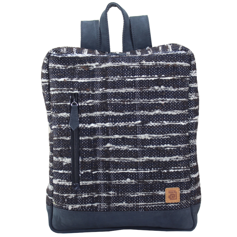 Wool and leather Achiote Jaspe Black backpack front