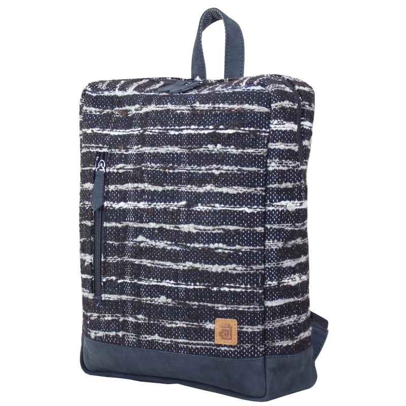 Wool and leather Achiote Jaspe Black backpack side