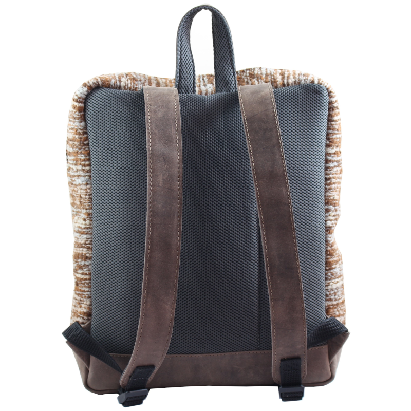 Wool and leather Achiote Jaspe Brown backpack back