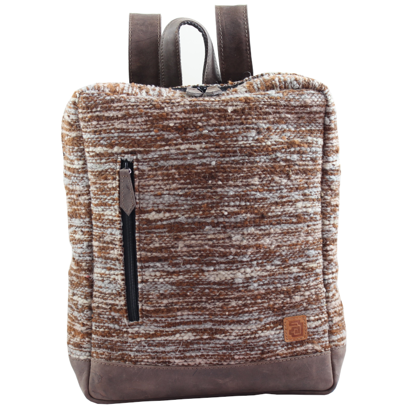 Wool and leather Achiote Jaspe brown backpack front